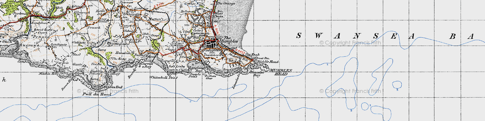 Old map of Limeslade Bay in 1947