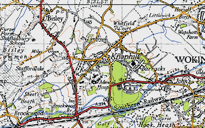 Old map of Knaphill in 1940