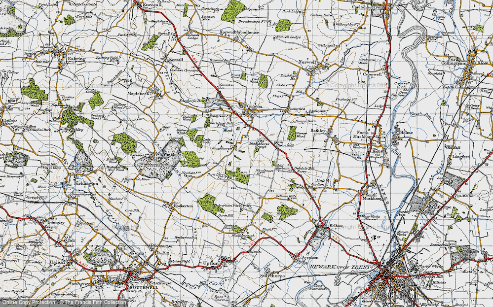 Old Map of Historic Map covering Averham Park in 1947