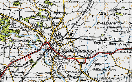 Old map of Knaresborough in 1947