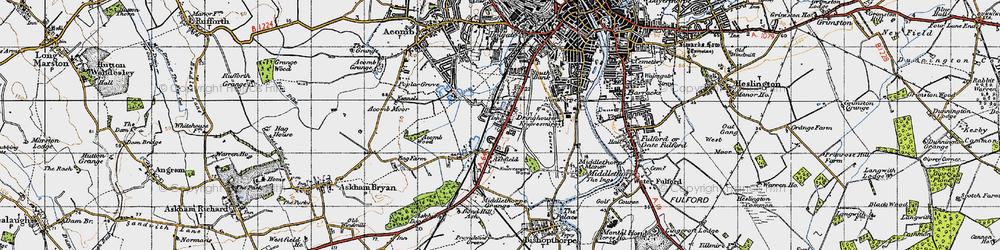 Old map of Knavesmire in 1947