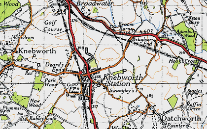 Old map of Knebworth in 1946