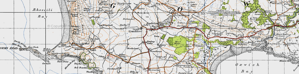 Old map of Knelston in 1946