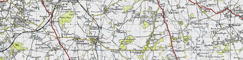 Old map of Whitfield Woods in 1945