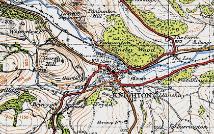 Old map of Knighton in 1947