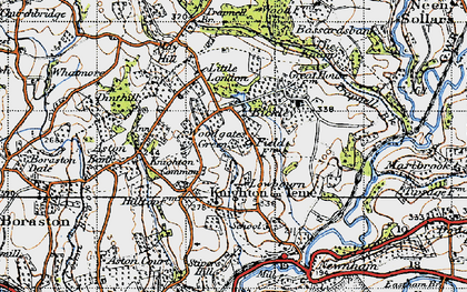 Old map of Knighton on Teme in 1947