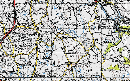 Old map of Knightor in 1946
