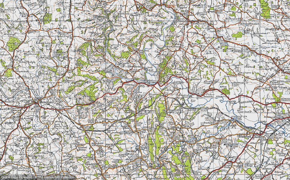 Old Map of Knightwick, 1947 in 1947