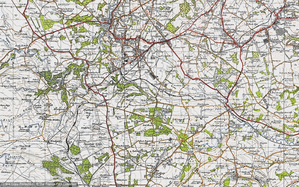 Old Map of Historic Map covering Woodlands Hall in 1947