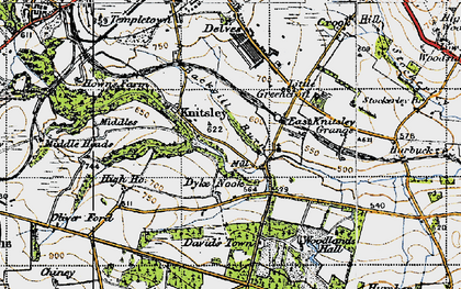 Old map of Backgill Burn in 1947
