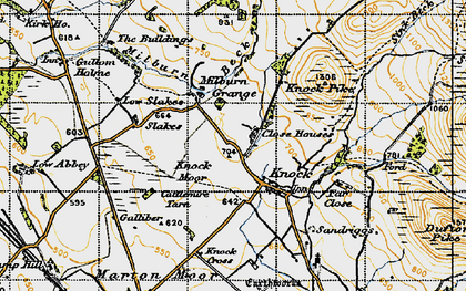 Old map of Knock in 1947