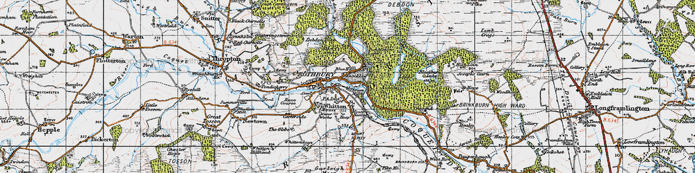 Old map of Whitefield Edge in 1947
