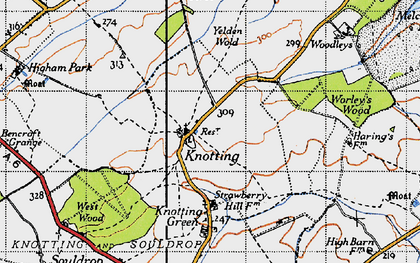 Old map of Yelden Wold in 1946