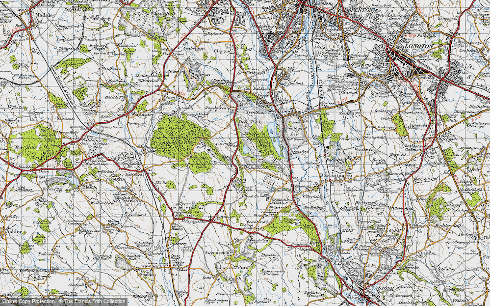 Old Map of Historic Map covering Toft, The in 1946