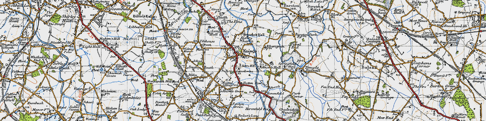 Old map of Knowle in 1947