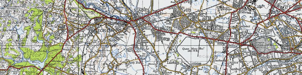 Old map of Penton Hook in 1940