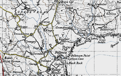 Old map of Kuggar in 1946