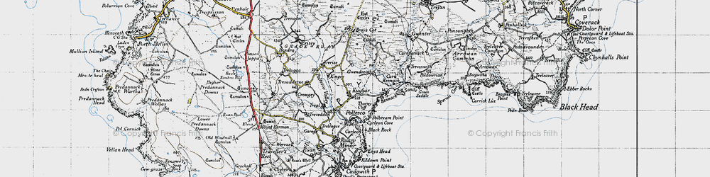 Old map of Kennack Sands in 1946