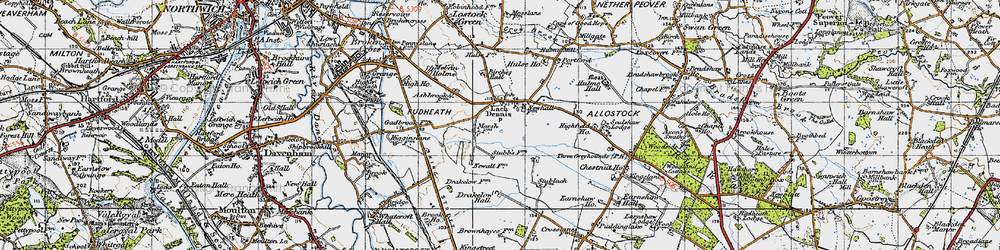 Old map of Allostock Hall in 1947