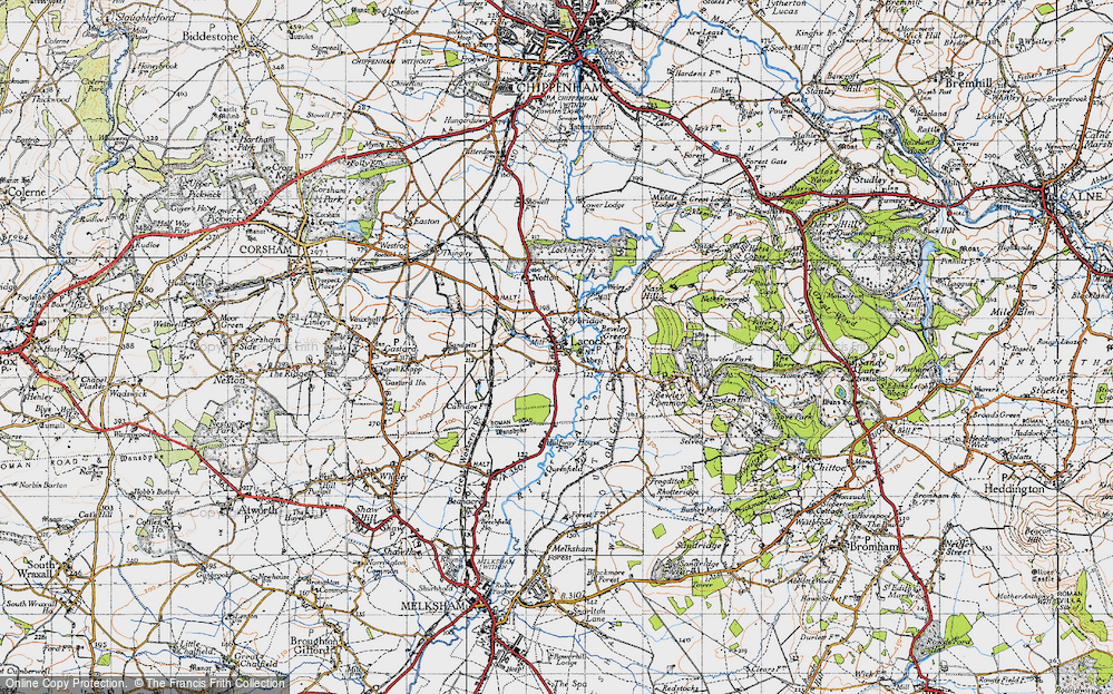 Old Map of Lacock, 1940 in 1940