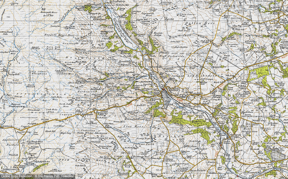 Old Map of Historic Map covering Toft Gate in 1947