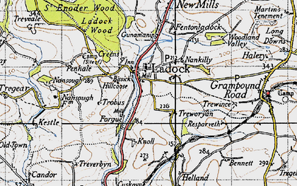 Old map of Ladock in 1946