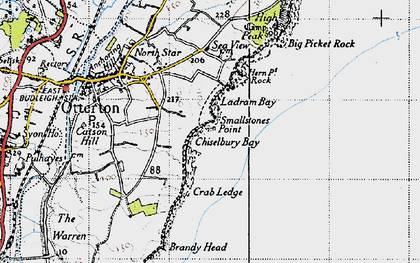 Old map of Ladram Bay in 1946