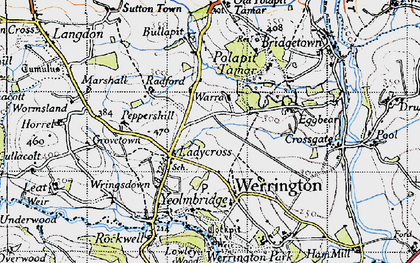 Old map of Ladycross in 1946