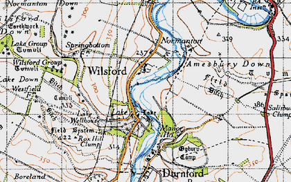 Old map of Wilsford Group in 1940