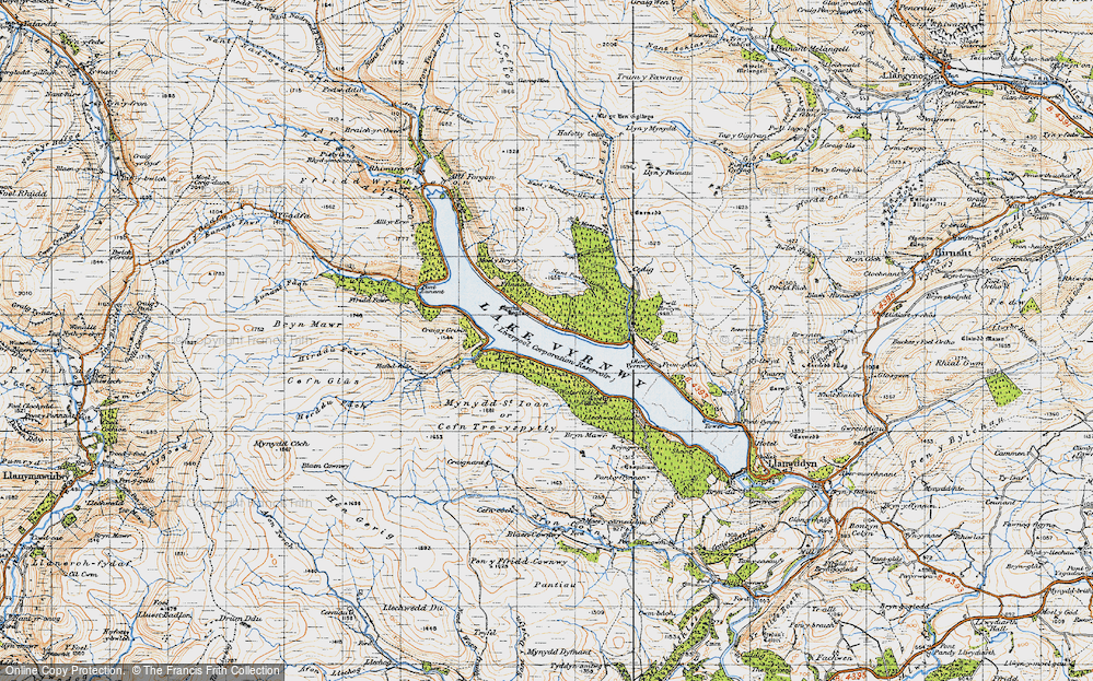 Old Map of Historic Map covering Afon Cedig in 1947