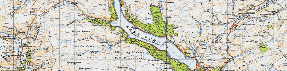 Old map of Afon Cedig in 1947