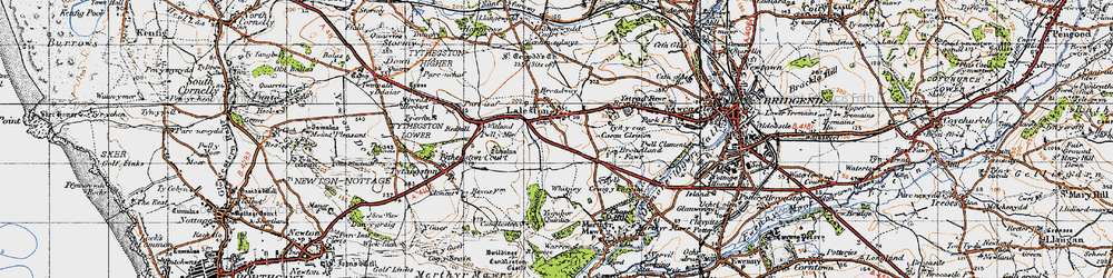 Old map of Laleston in 1947