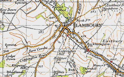 Old map of Lambourn in 1947