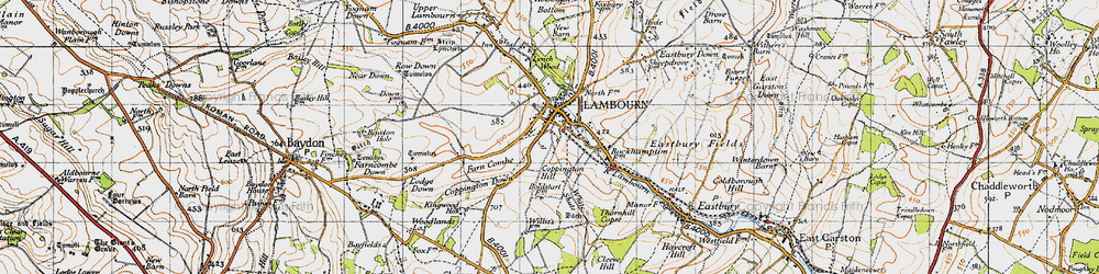 Old map of White Shute in 1947