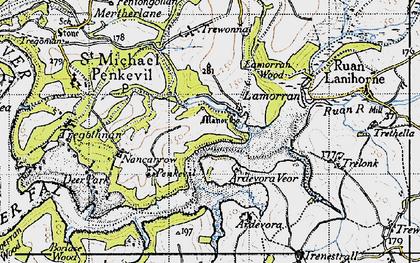 Old map of Lamorran in 1946