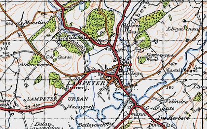 Old map of Lampeter in 1947