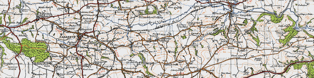 Old map of Afon Marlais in 1946
