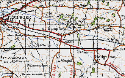 Old map of Lamphey in 1946