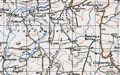 Old map of Woodsdown Hill in 1946