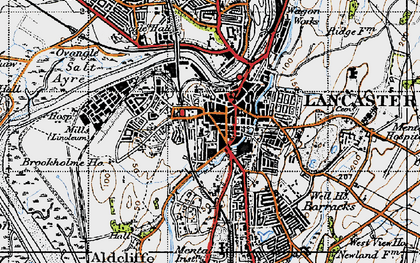 Old map of Lancaster in 1947