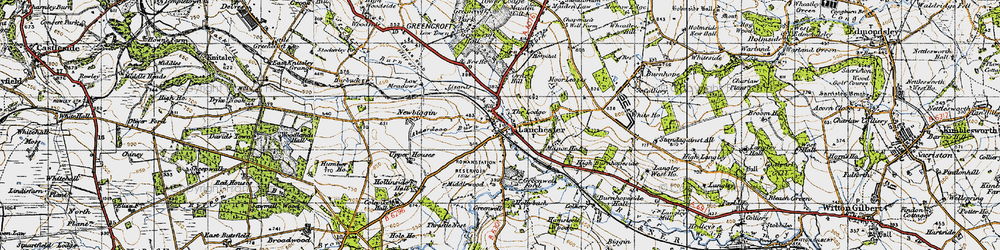 Old map of Alderdene Burn in 1947