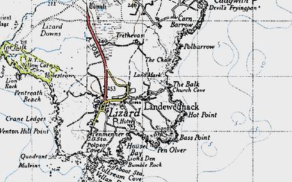 Old map of Landewednack in 1946