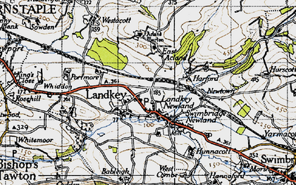 Old map of Acland Barton in 1946