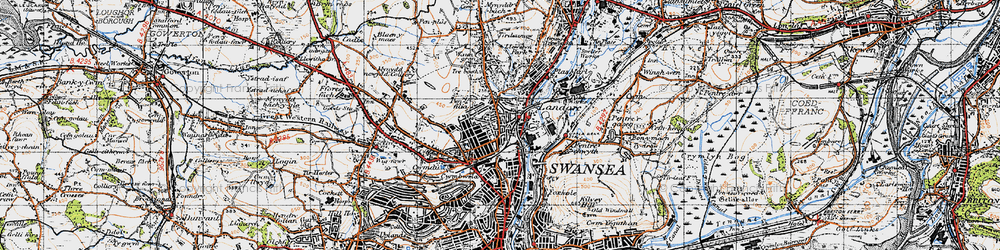 Old map of Landore in 1947