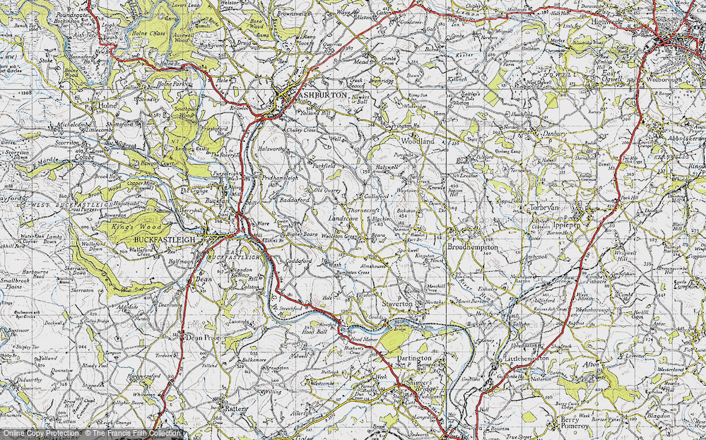 Old Map of Historic Map covering Barkingdon Manor in 1946