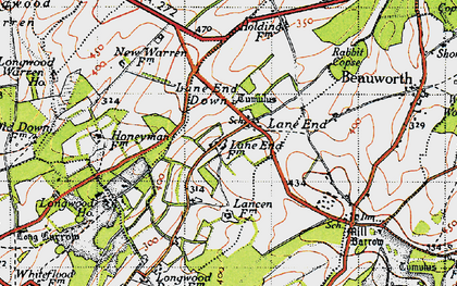 Old map of Lane End Down in 1945