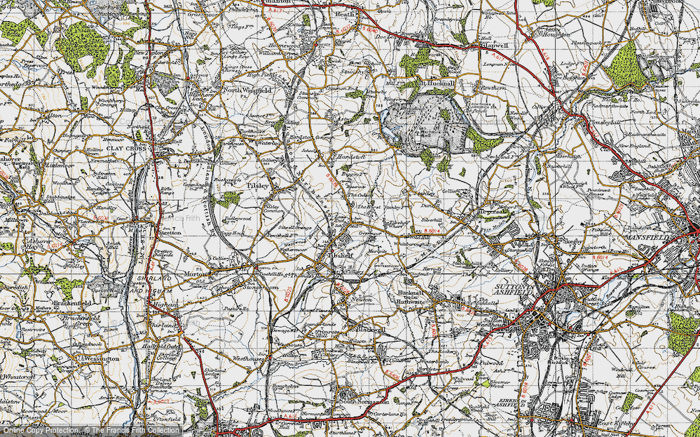 Old Map of Historic Map covering Tibshelf Services in 1947