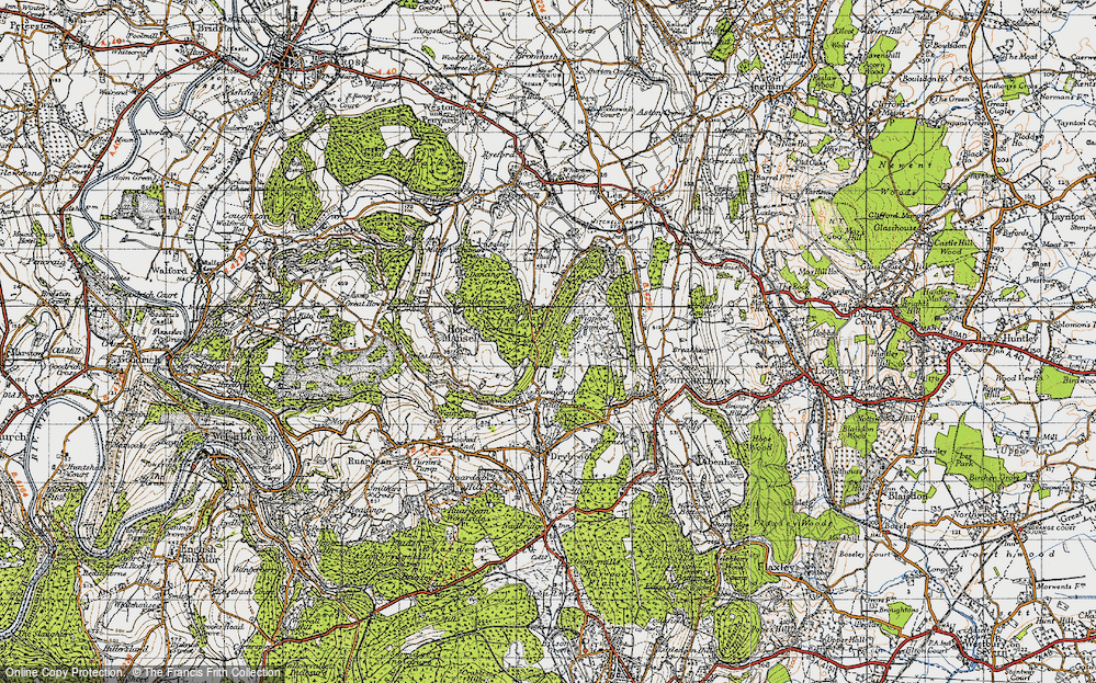 Old Map of Historic Map covering Lea Bailey Inclosures in 1947