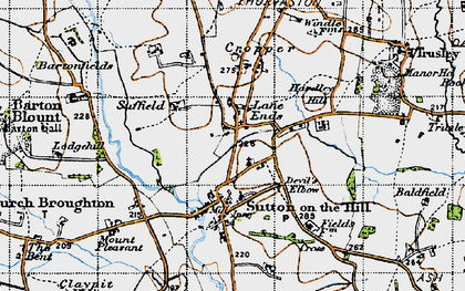 Old map of Lane Ends in 1946