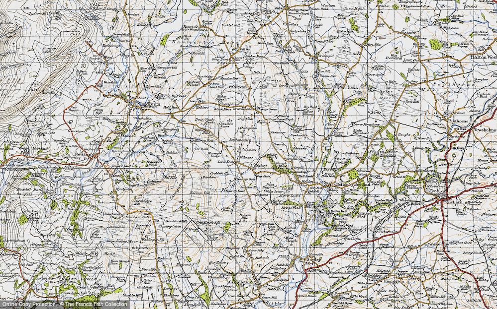 Old Map of Historic Map covering Alder Ho in 1947